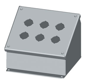 SCE-PBA Series Sloping Pushbutton Enclosures : IP55 Sloping Front Steel Enclosures for 22mm & 30 mm Switch Bodies